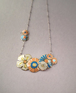 Peachy tin flower necklace