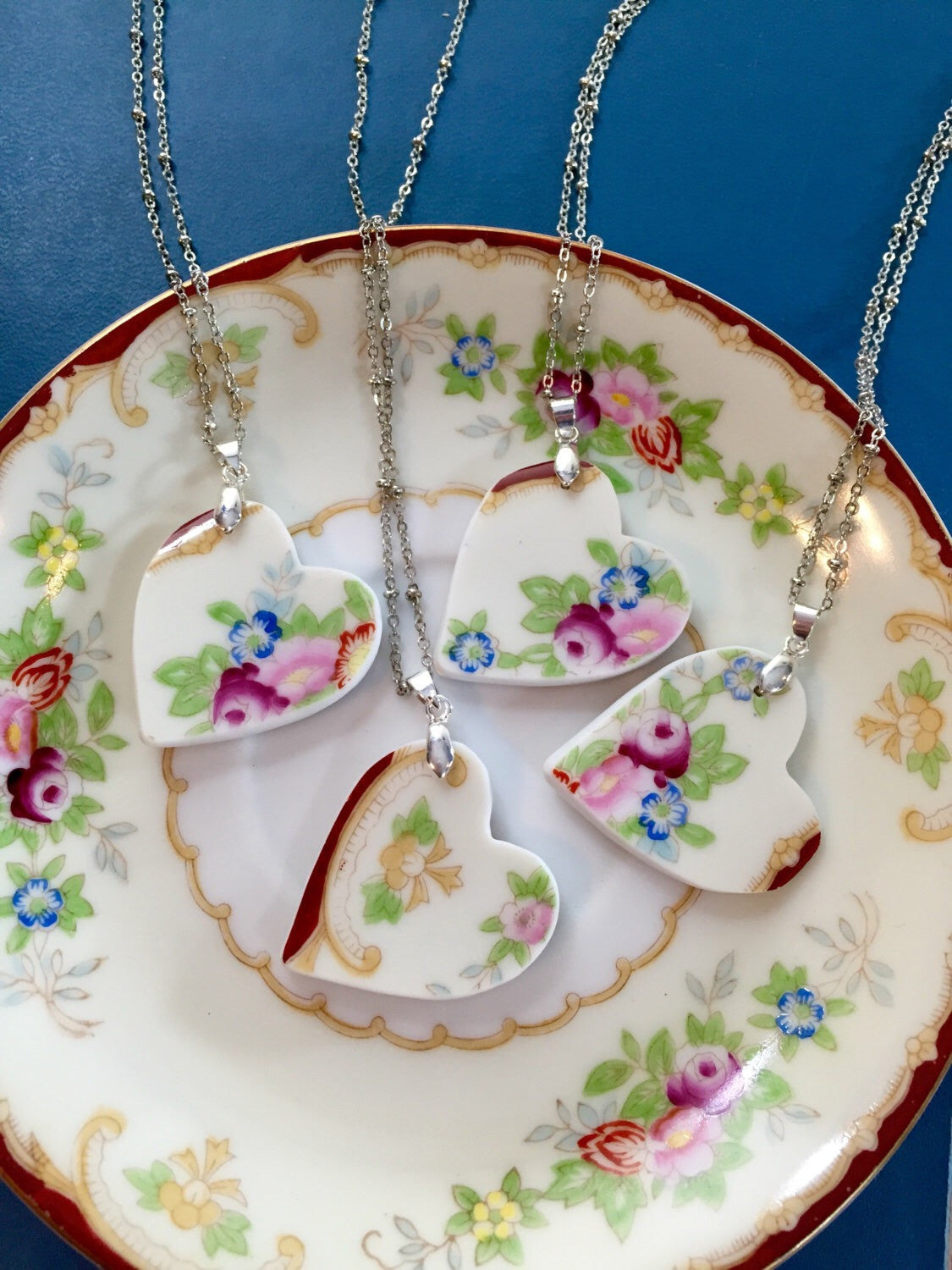 Broken china jewelry - Heart Bridal Necklace Set Main image