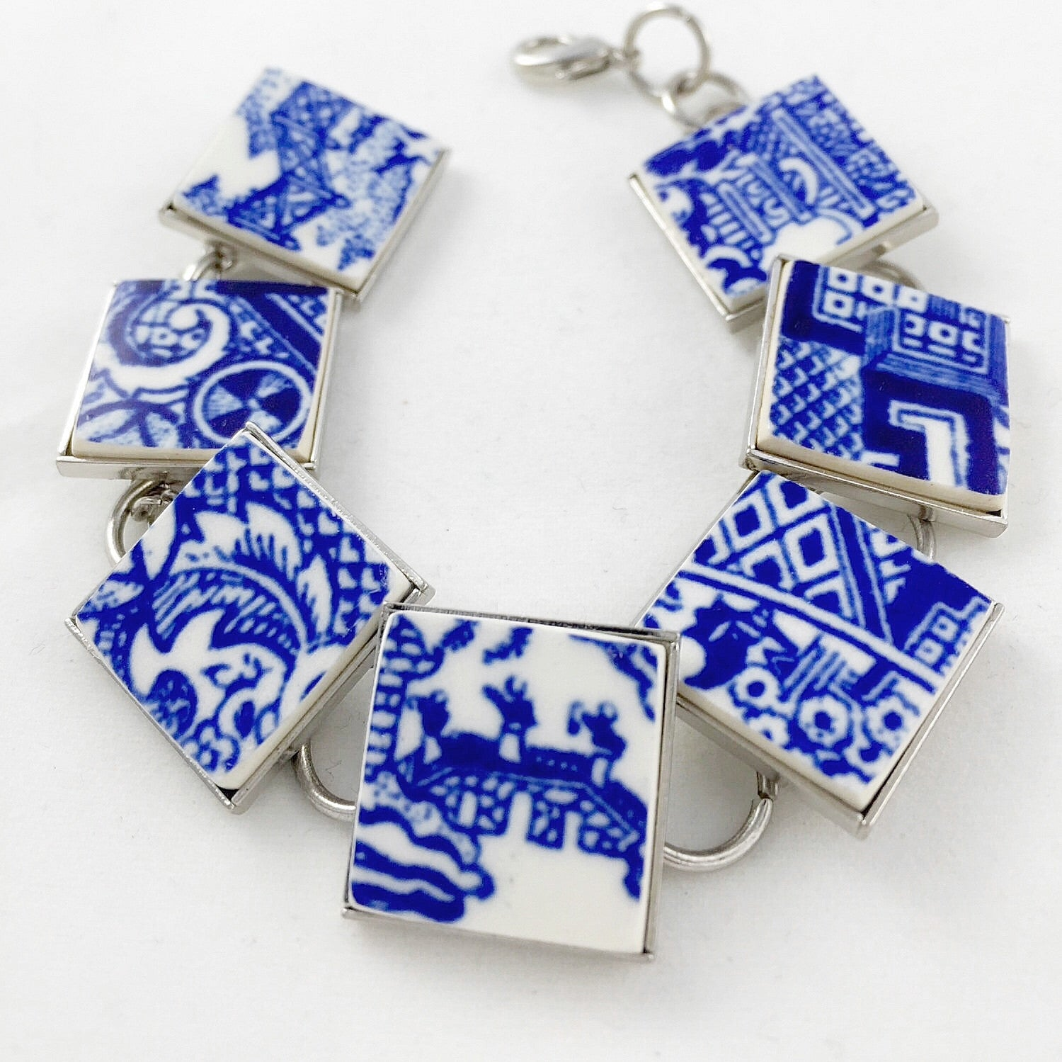 Broken china jewelry - Blue willow bracelet