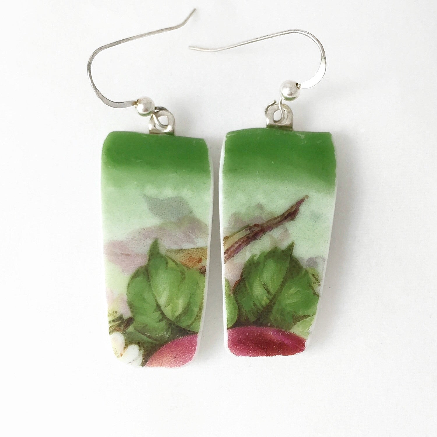 Leafy Greens Earrings - Broken China Jewelry