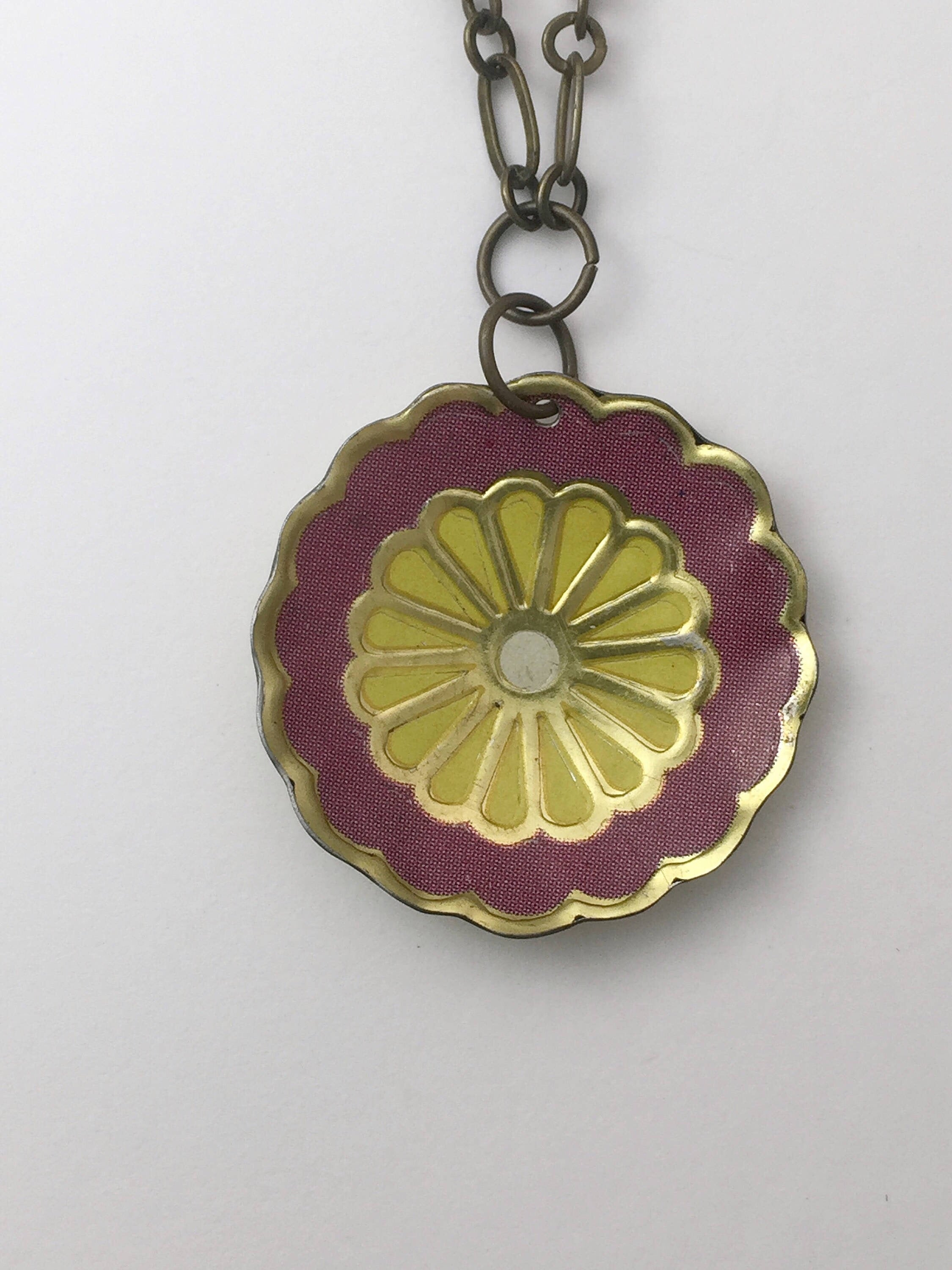 Tin Jewelry - Single Purple Flower Necklace - Recycled Vintage Tin Close up image