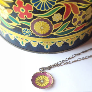 Tin Jewelry - Single Purple Flower Necklace - Recycled Vintage Tin With Vintage tin Can Measurement