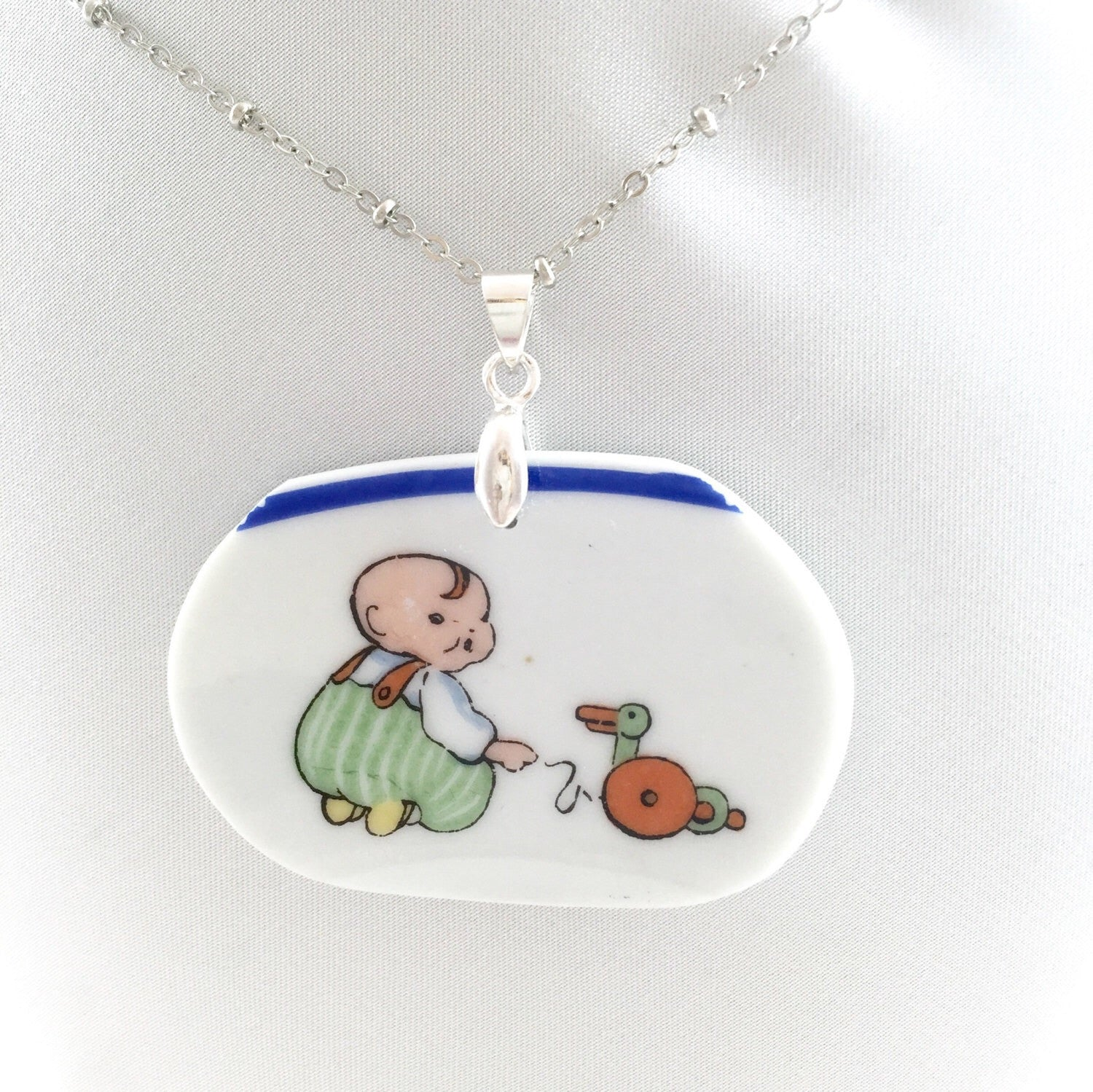 Vintage Happifats Boy with Duck toy Necklace - Broken china jewelry