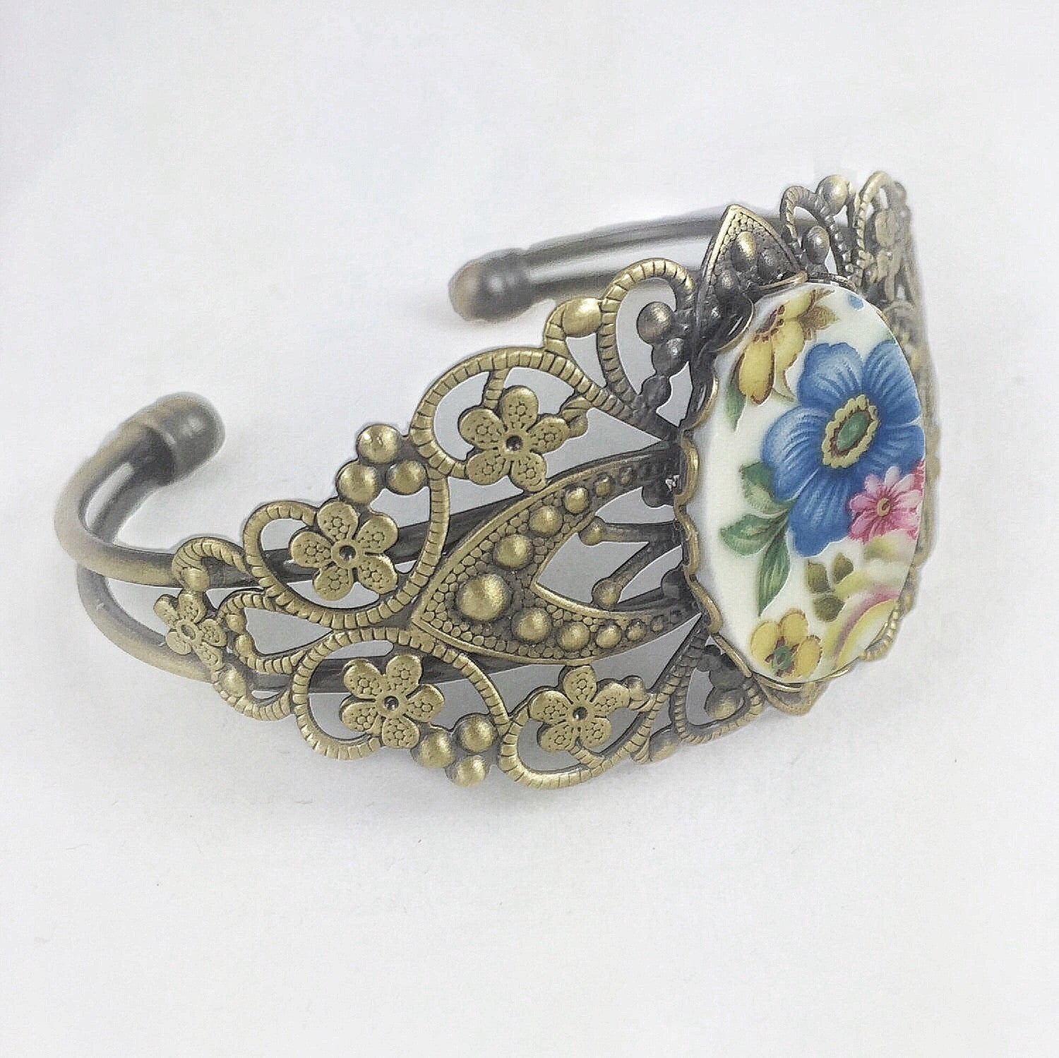 Broken China Jewelry Bracelet - Brass Flower Cuff Main image