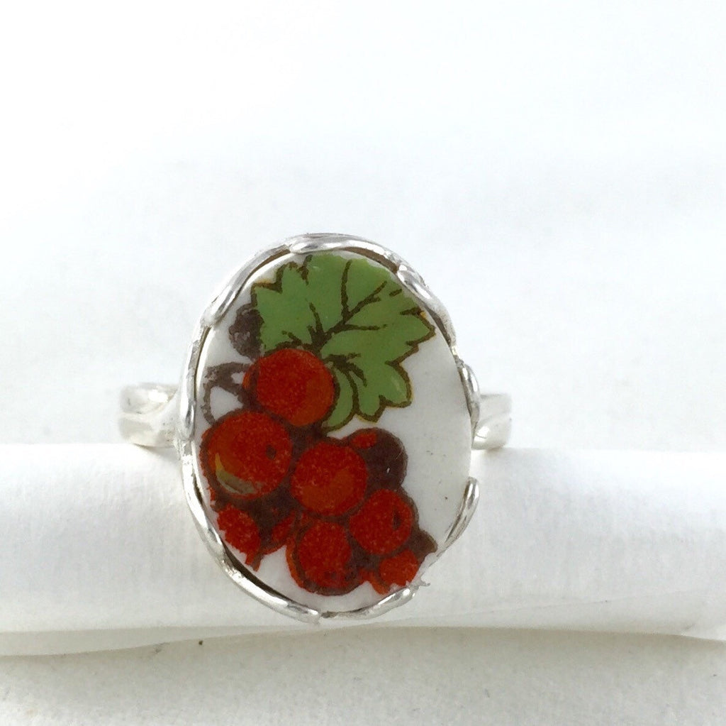 Broken China jewelry -sterling silver ring