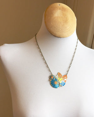 Recycled Tin Jewelry - Women's Butterfly Necklace on Model