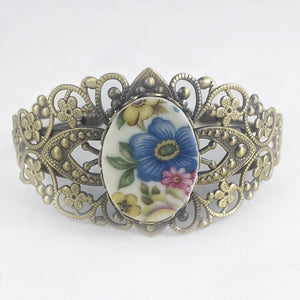 Broken China Jewelry Bracelet - Brass Flower Cuff