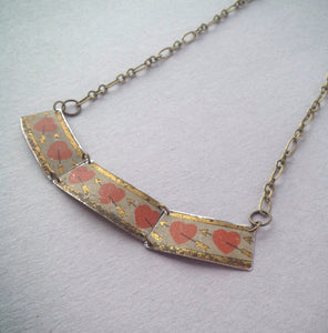 Tin Jewelry Necklace - 1920's heart bar necklace