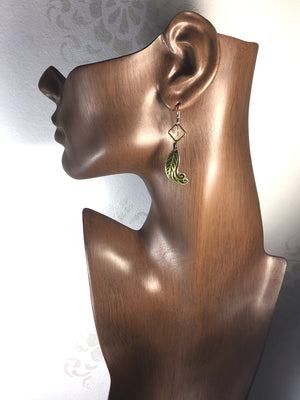 Gold and Bronze Tin Leaf Earrings - Jewelry Recycled from a Vintage Tin can