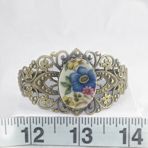 Broken China Jewelry Bracelet - Brass Flower Cuff Measurement