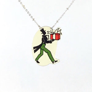 Tin jewelry Upcycled recycled repurposed Christmas necklace