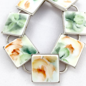 Broken china jewelry- Smashed glass plate Upcycled