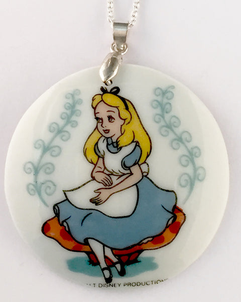 Broken China jewelry - Alice in wonderland necklace