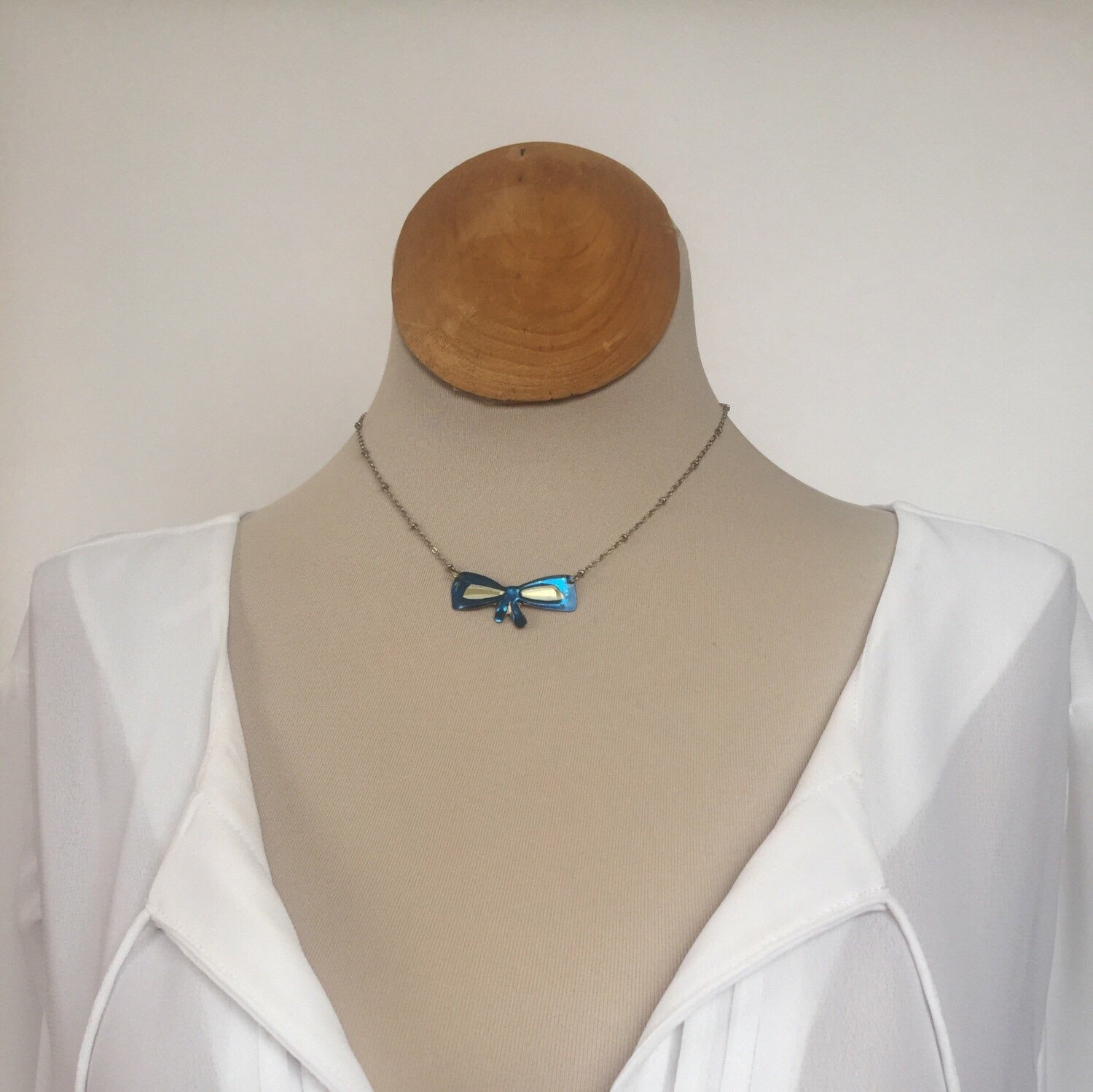Vintage Tin Jewelry -  Blue Bow Choker Necklace on model short length