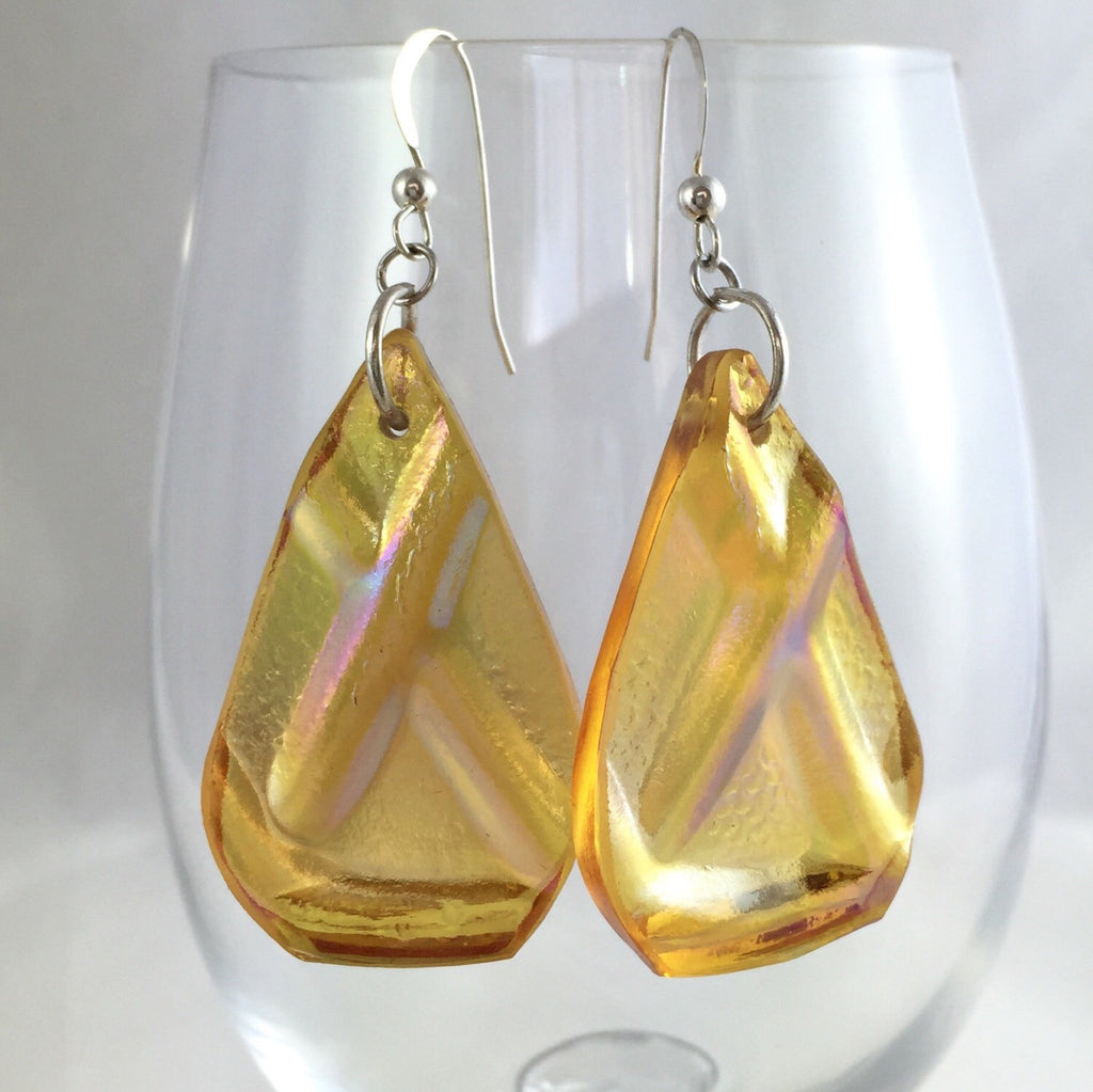 Golden glass earrings - Broken china jewelry on clear glass rim