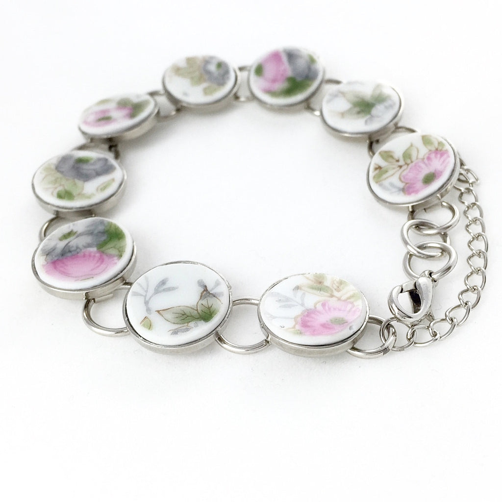 Pastel Pink and Gray bracelet - Broken China Jewelry