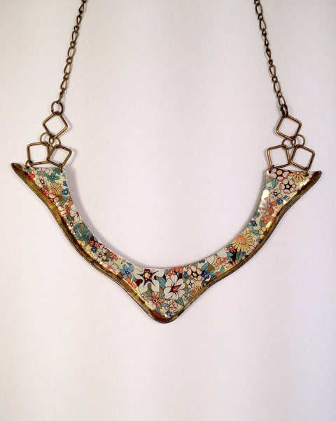 recycled metal bib necklace - vintage litho jewelry