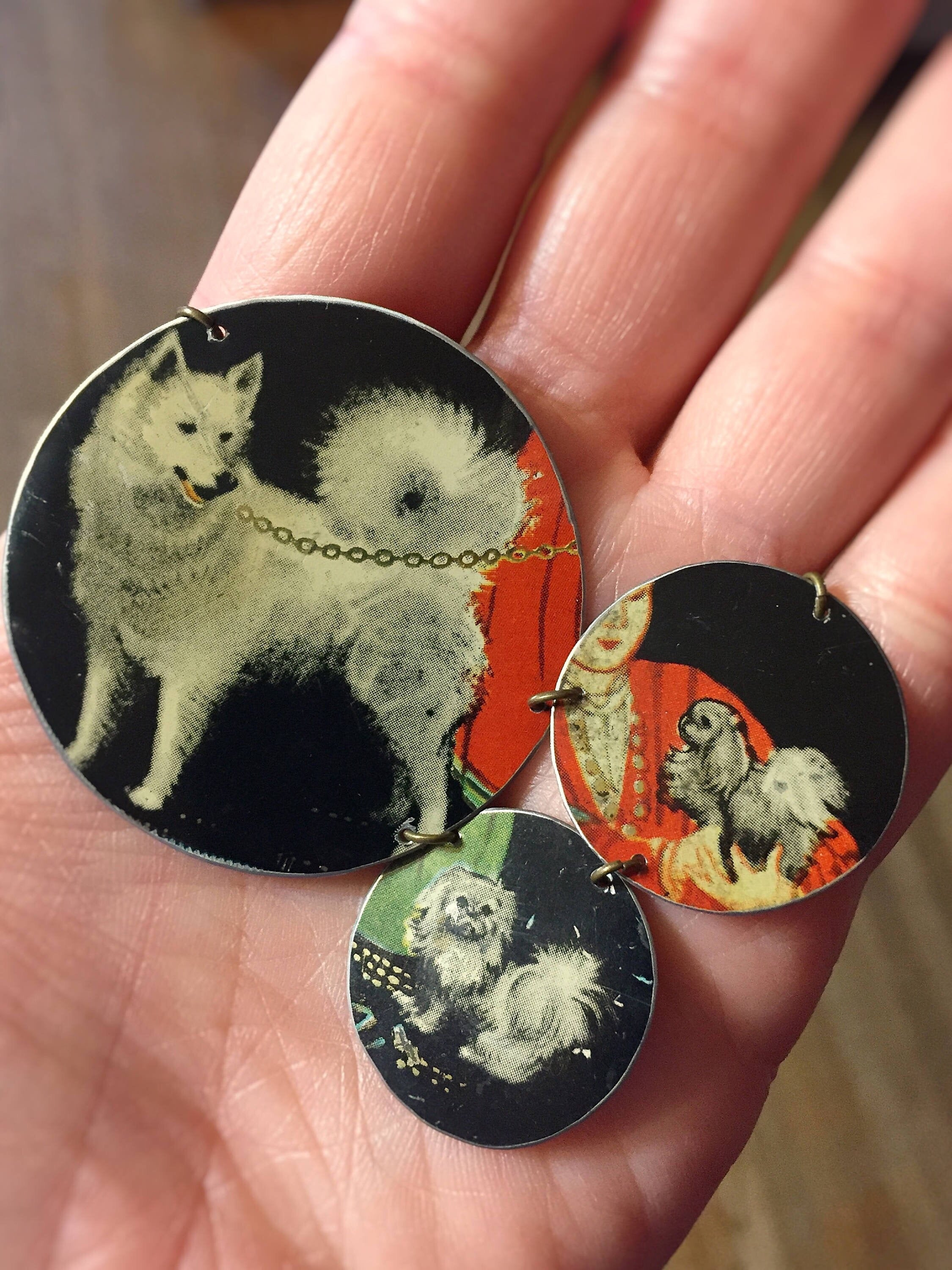 Tin Jewelry - Dog Necklace - Husky pekingese in hand for scale