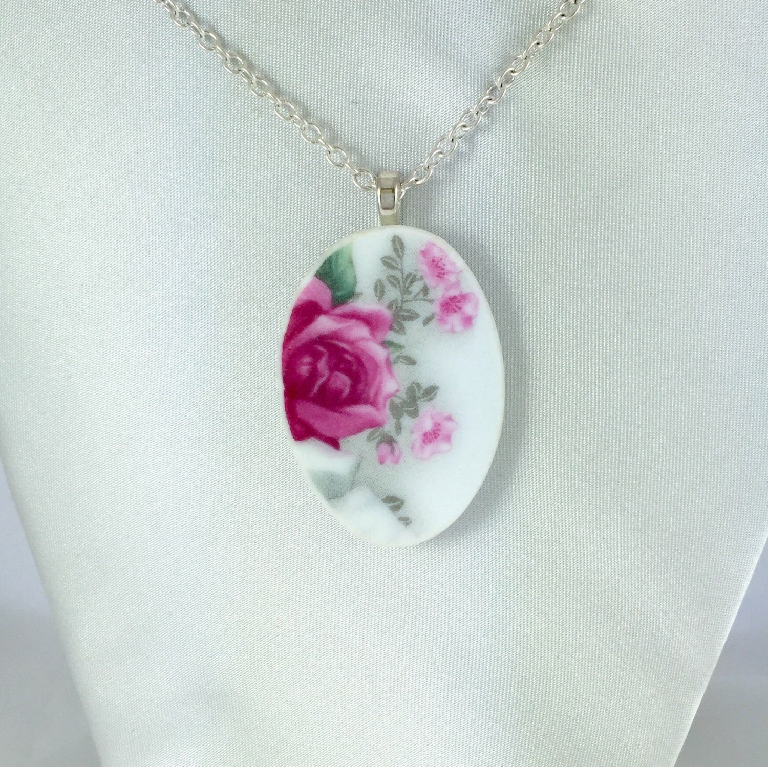 Broken China Jewelry - Classic Rose Necklace on Model