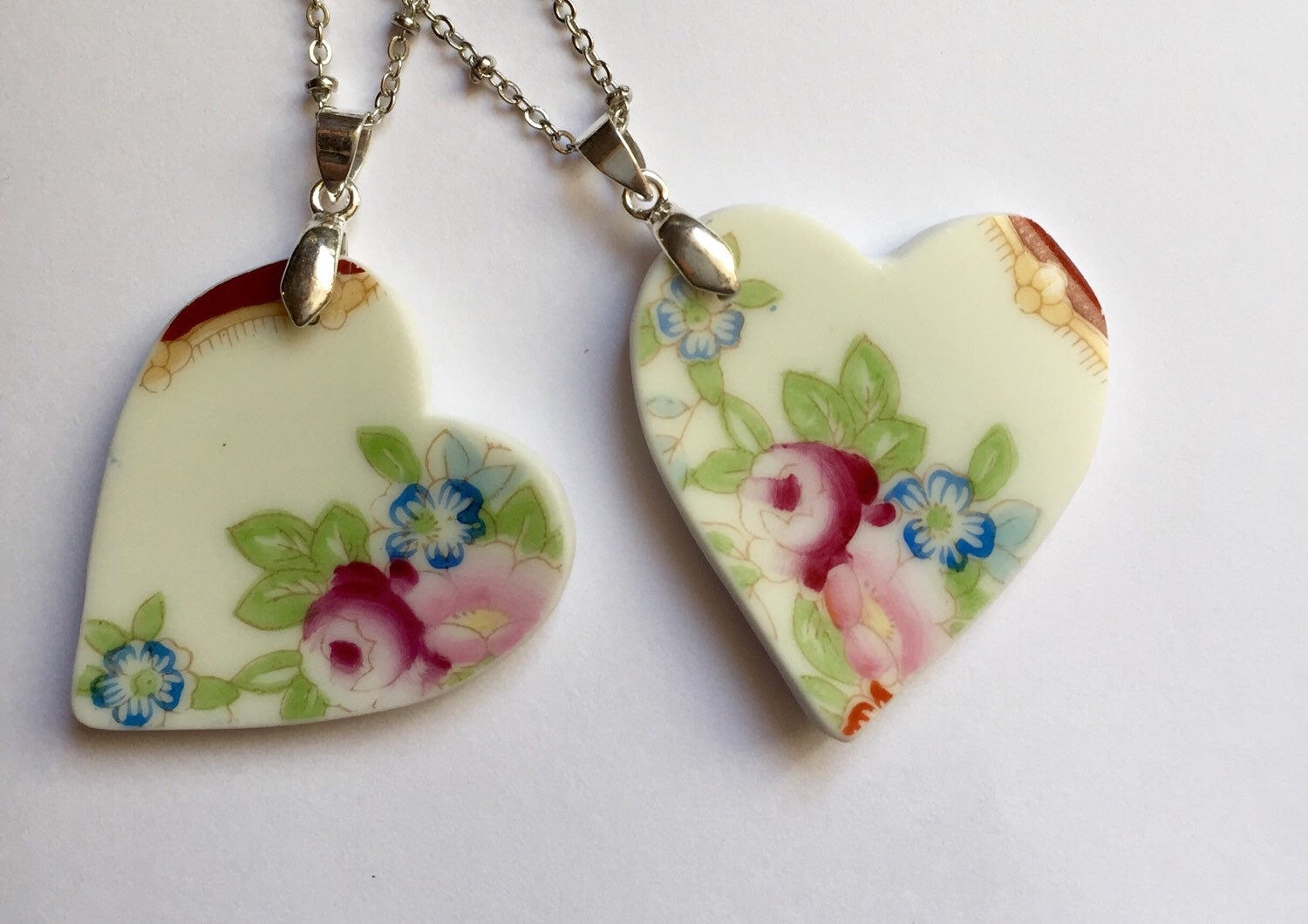 Broken china jewelry - Heart Bridal Necklace Set close up of 2. image 1
