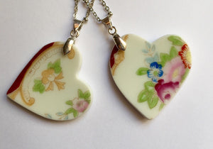 Broken china jewelry - Heart Bridal Necklace Set close up of 2. image 2