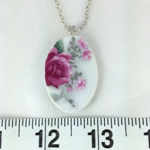 Broken China Jewelry - Classic Rose Necklace Measurements