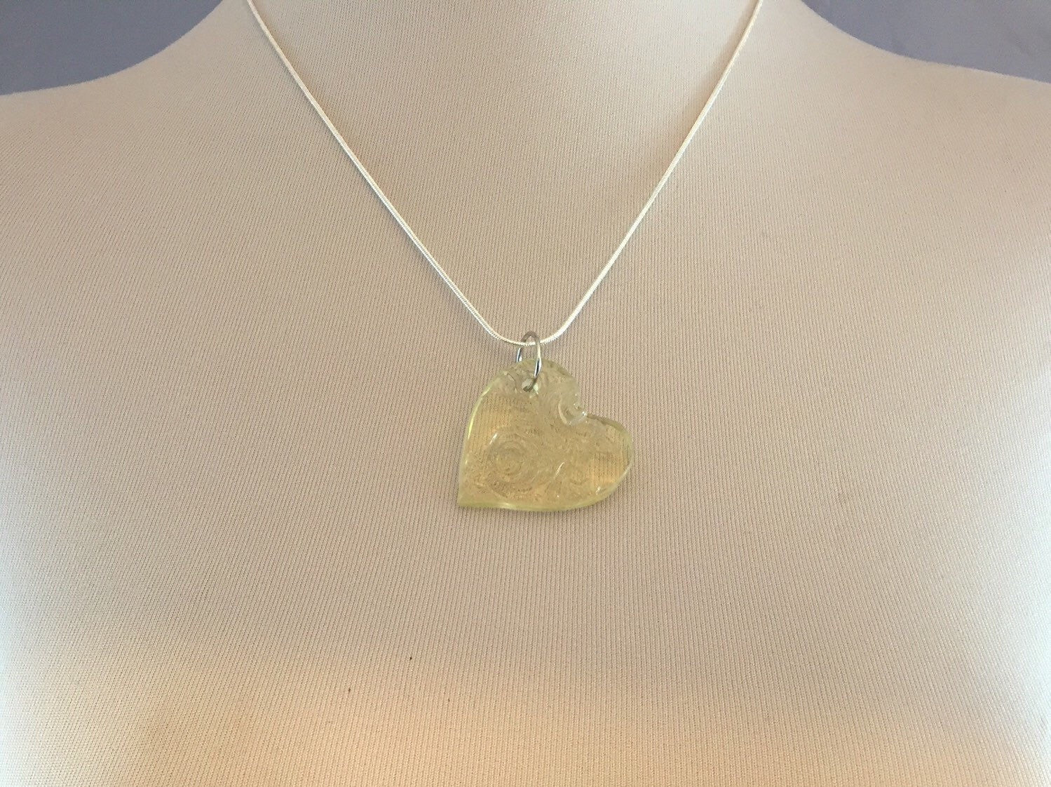 Yellow heart glass necklace