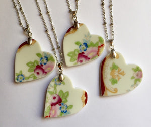 Broken china jewelry - Heart Bridal Necklace Set of 4