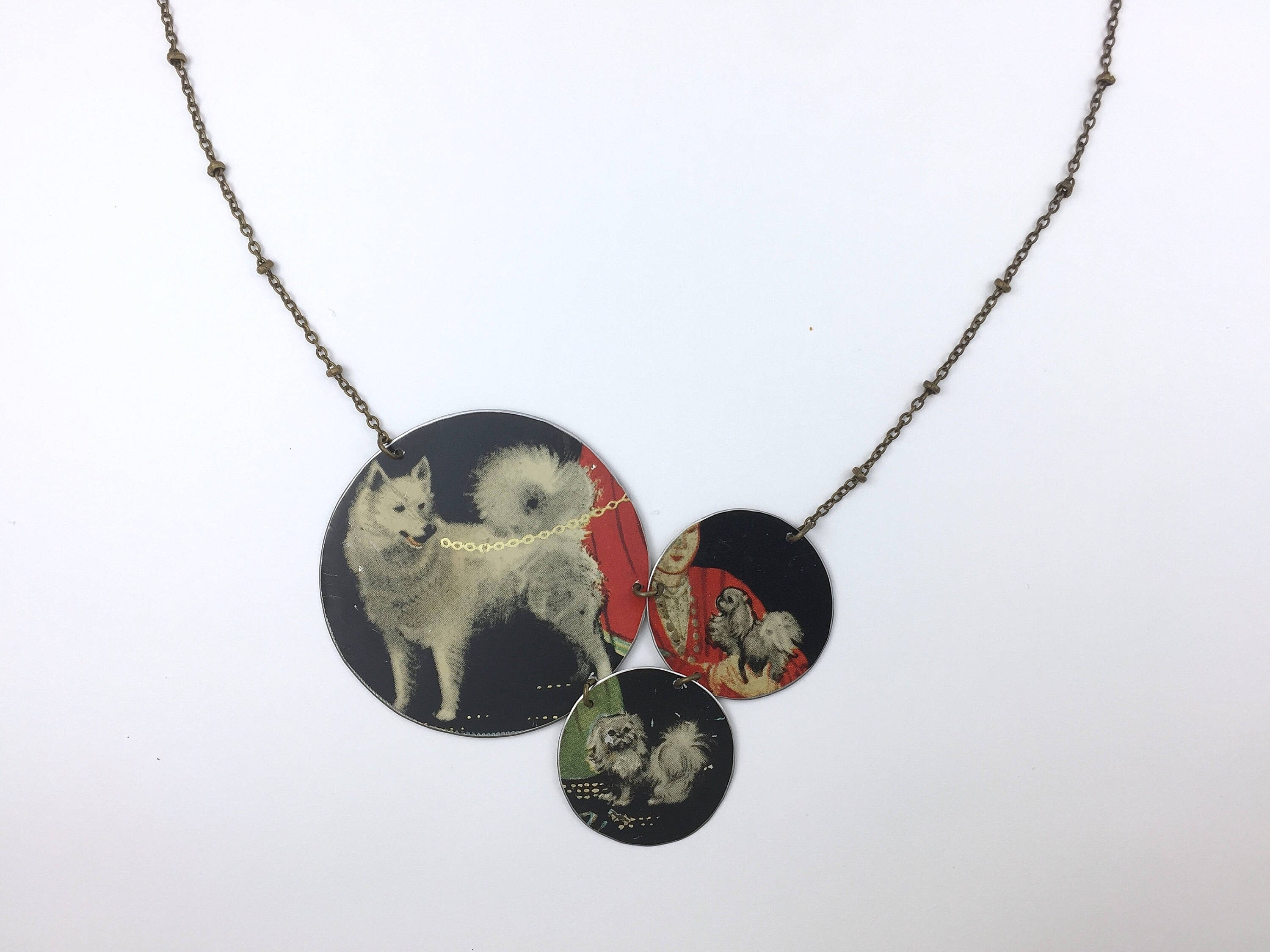 Tin Jewelry - Dog Necklace - Vintage Husky pekingese