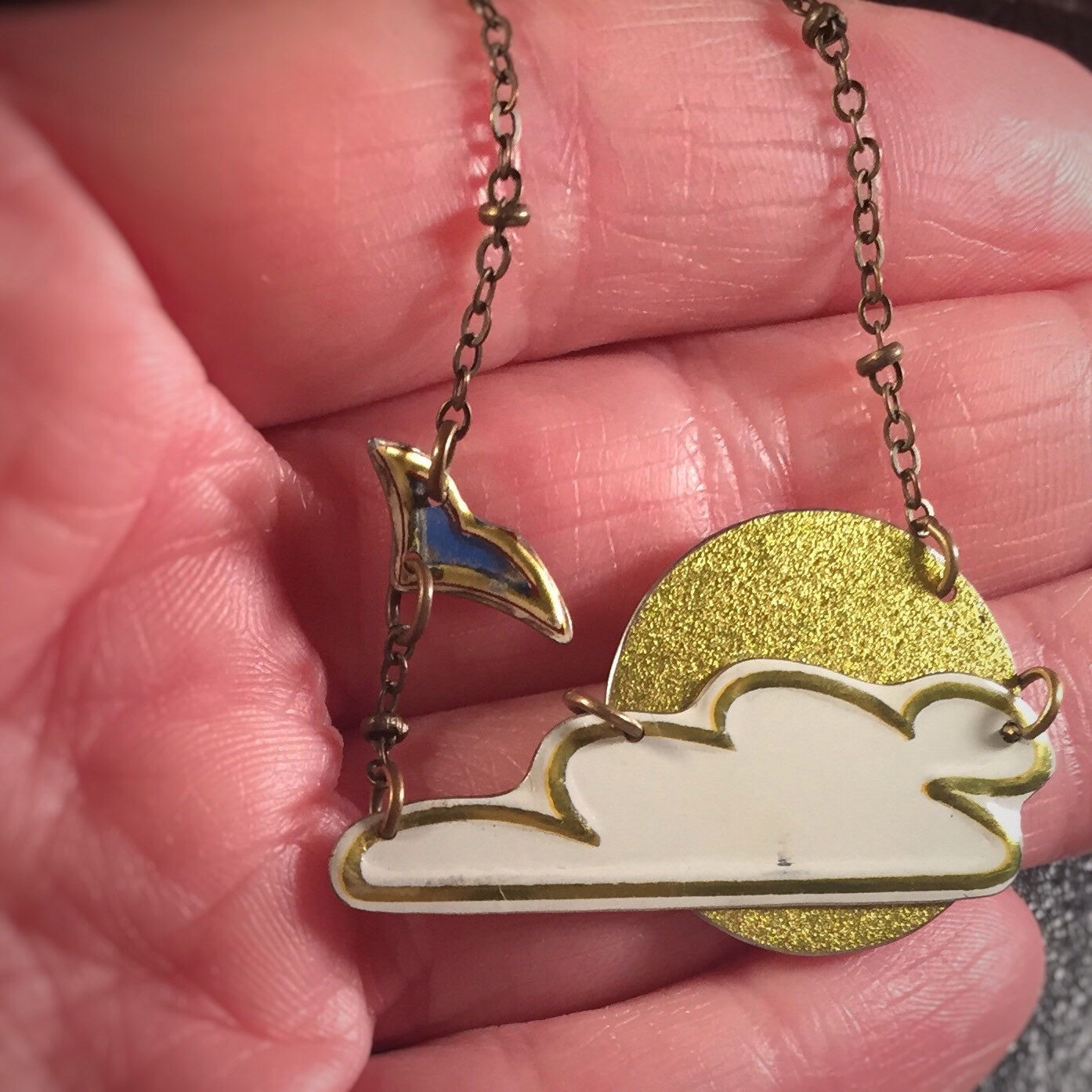 Tin Jewelry Necklace - Cloud Scene - Recycled vintage Art Jewelry In Hand
