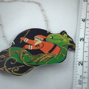 Tin Jewelry - Christmas Santa necklace Measurement