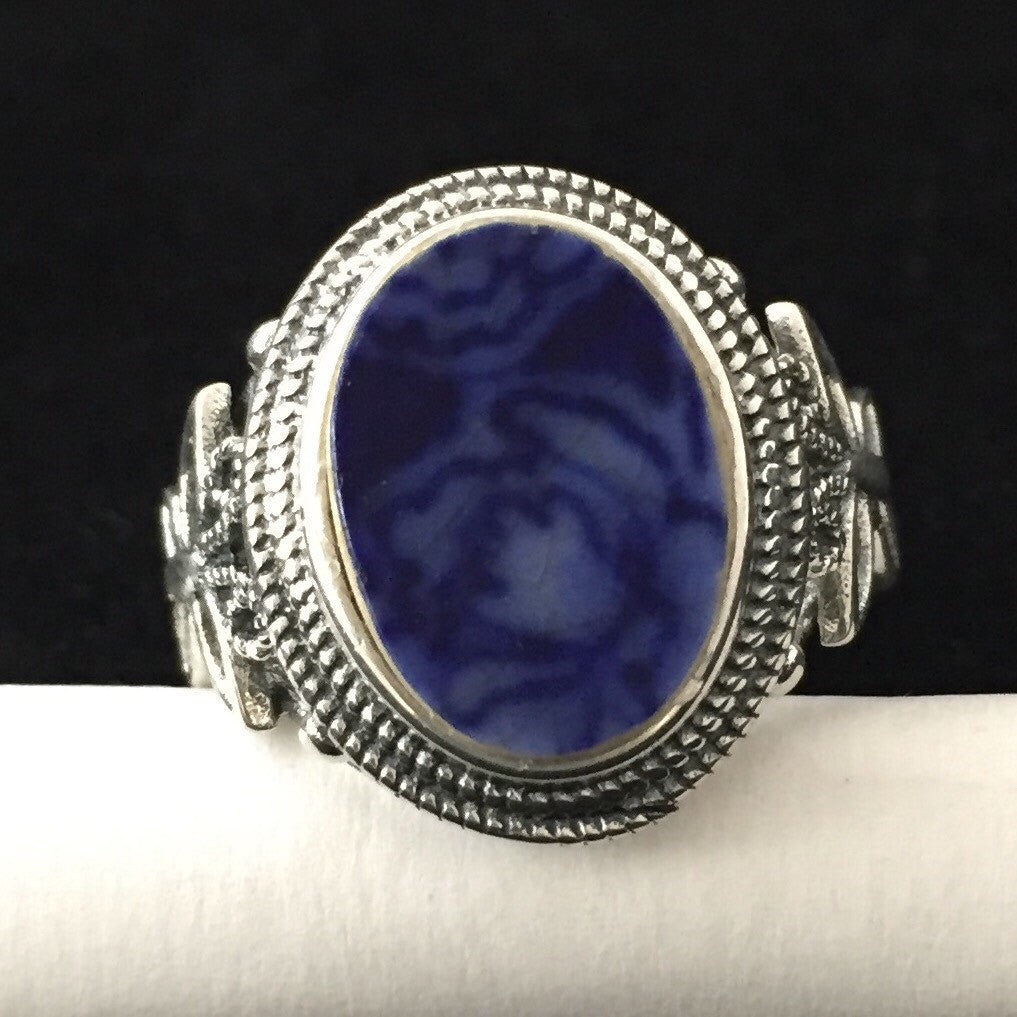 Broken China jewelry  - Mother's Day gift ideas - sterling silver ring