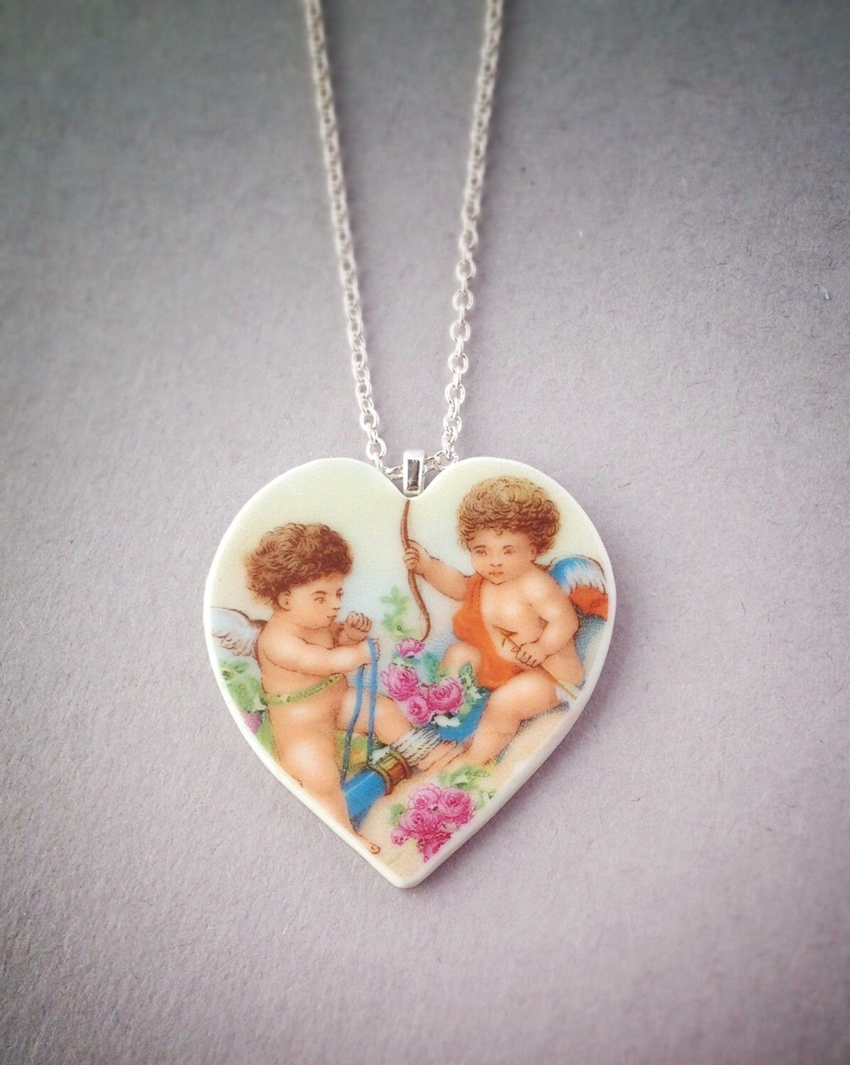 Cupid necklace - heart necklace