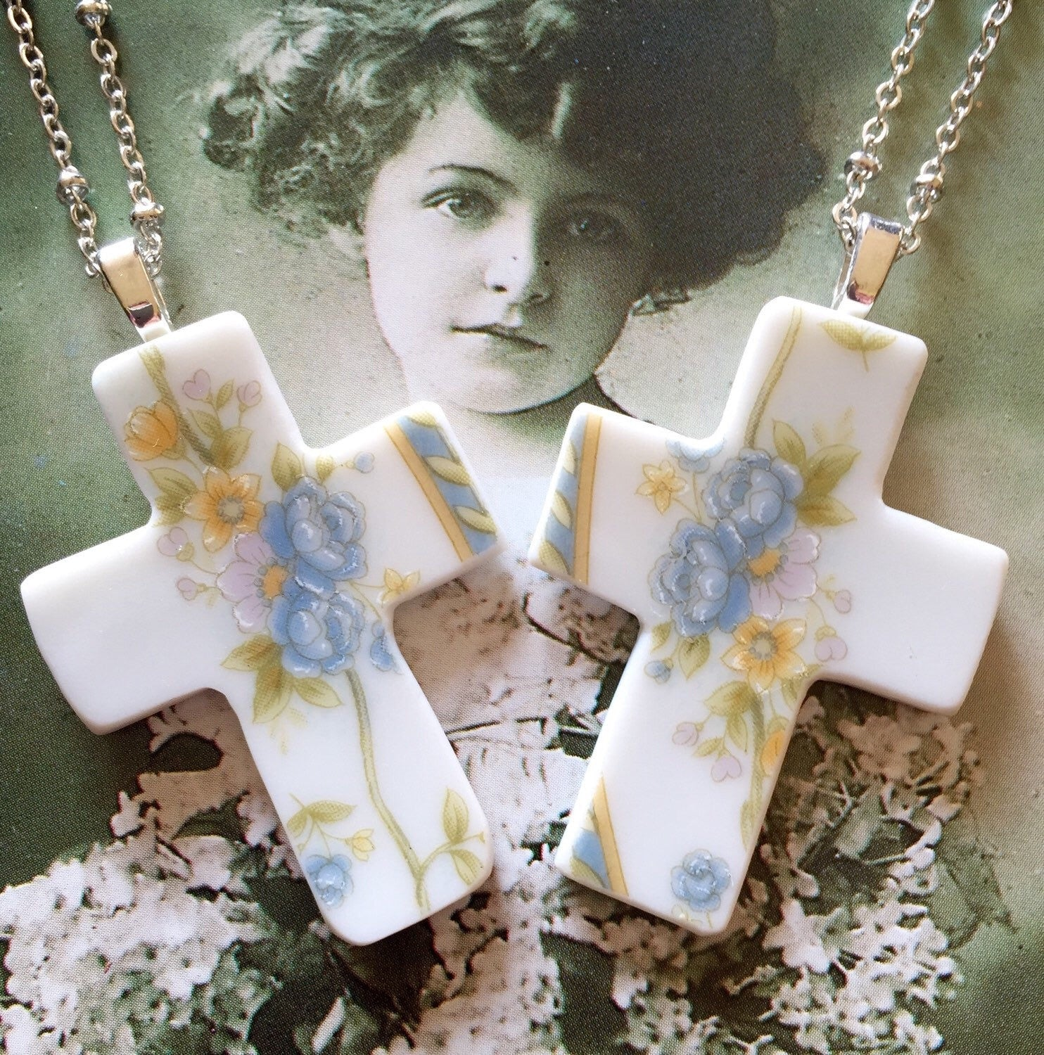 Floral cross necklace