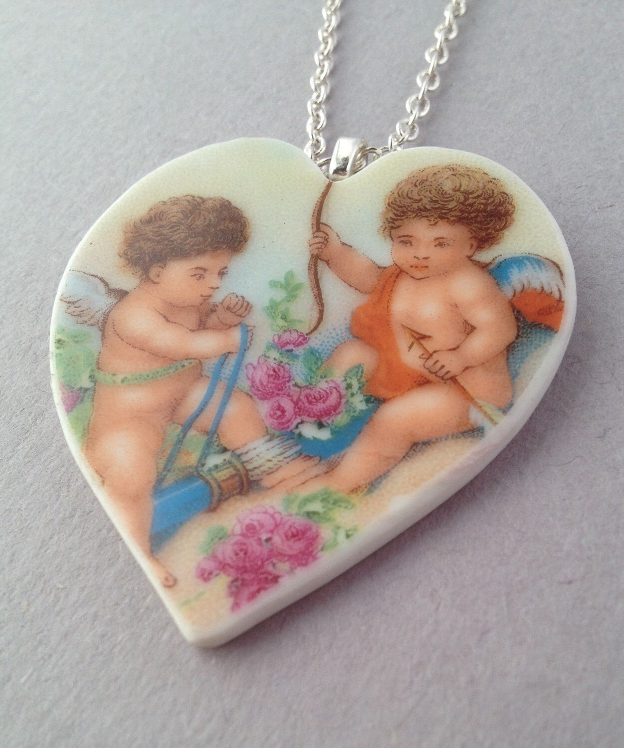 Broken China jewelry - vintage dishes - Valentine's Day gift ideas