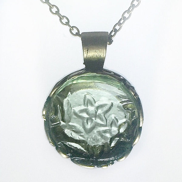 vintage depression glass necklace