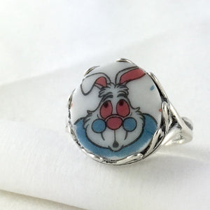 Broken china jewelry ring - white rabbit- alice in wonderland - disney