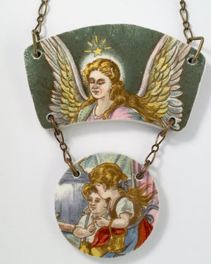 Vintage Guardian angel painting necklace - broken china jewelry