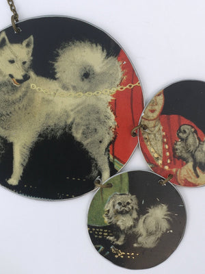Tin Jewelry - Dog Necklace - Husky pekingese close up image