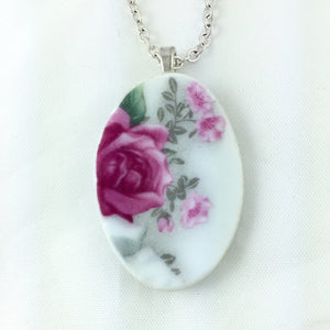 Broken China Jewelry - Classic Rose Necklace Main Image
