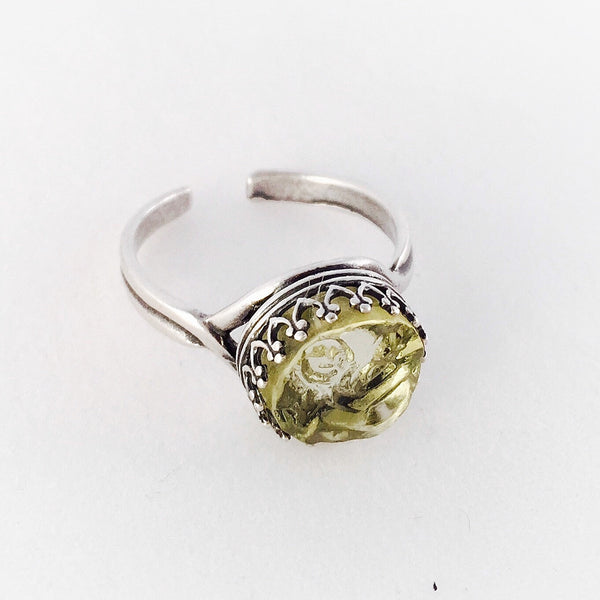 Broken China jewelry - depression glass adjustable size ring