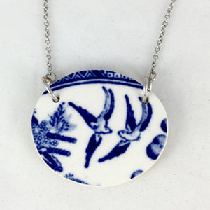 Broken china jewelry- blue willow birds