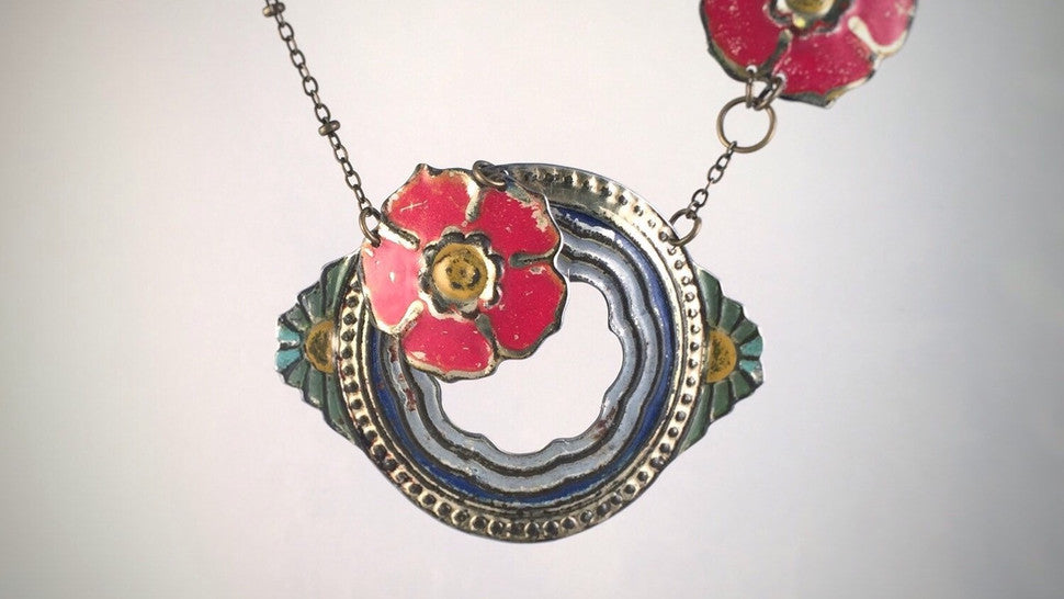 Recycled antique tin necklace