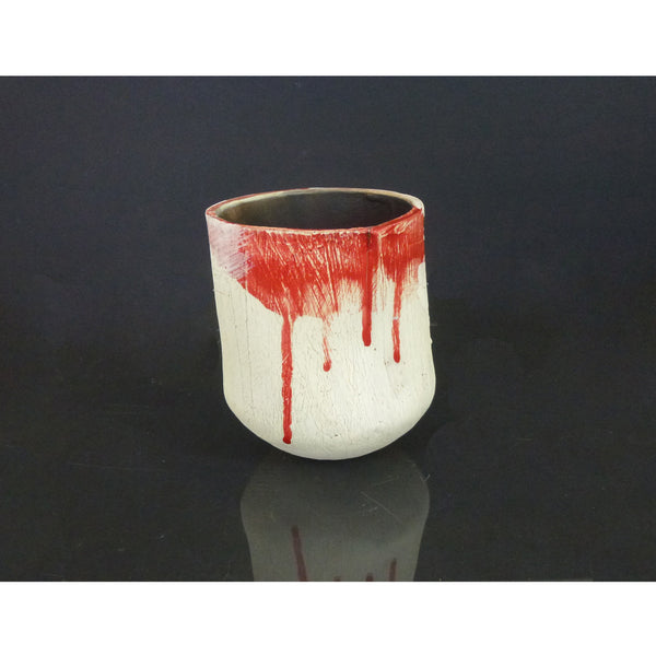 Lesley McInally - Sm White & Red Hand Built Vessel