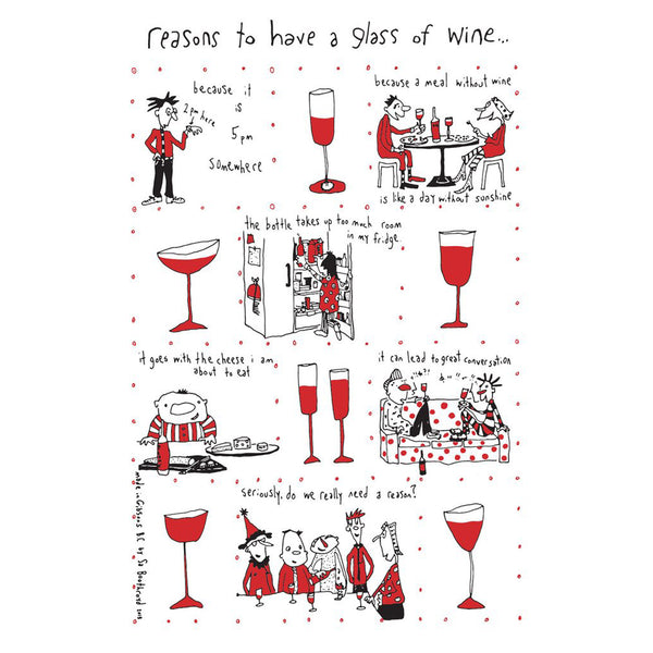 Sa Boothroyd - Reasons to Drink Wine  Teatowel