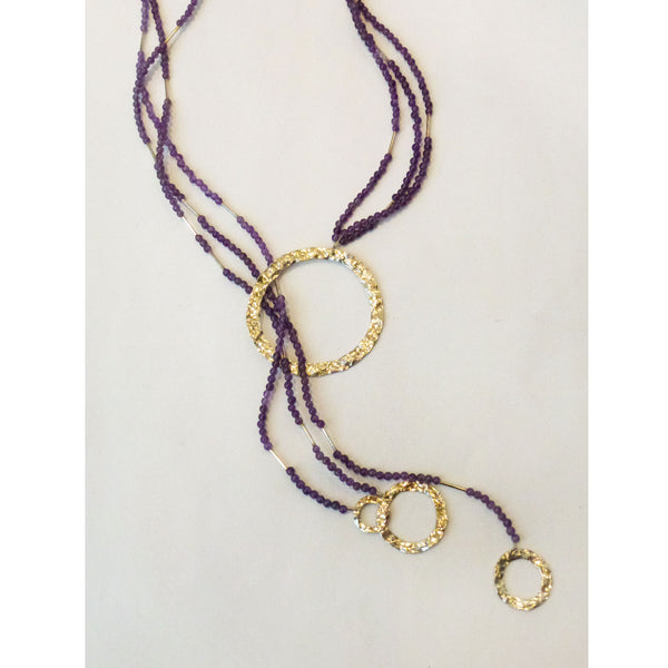 Gill Birol - Circle Amethyst Lariat Necklace