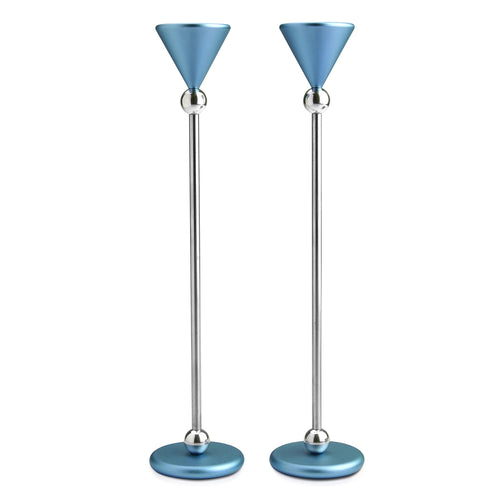Dabbah Judaica - Large Candlesticks Light Blue