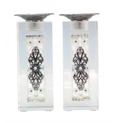 Ester Shahaf - White & Silver Crystal Candlesticks