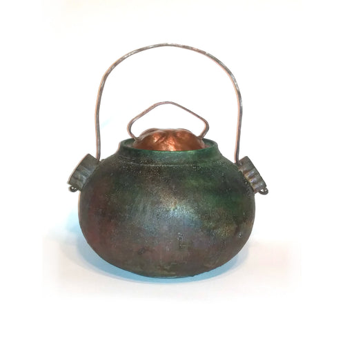 richard & susan surette - green/bronze glaze covered jar with copper lid