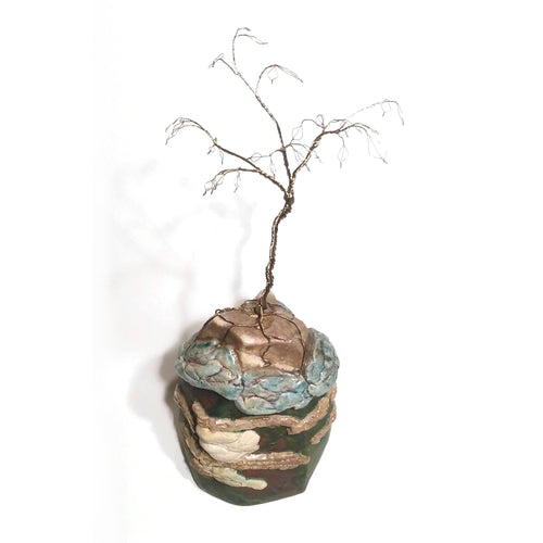 richard & susan surette -green glaze mountain jar with thin silvery tree